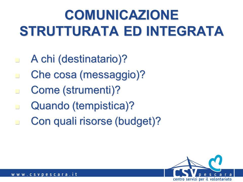 COMUNICAZIONE STRUTTURATA ED INTEGRATA A chi (destinatario)? A chi (destinatario)? Che cosa (messaggio)? Che cosa (messaggio)? Come (strumenti)? Come
