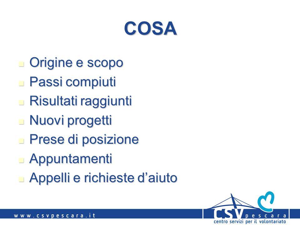 COSA Origine e scopo Origine e scopo Passi compiuti Passi compiuti Risultati raggiunti Risultati raggiunti Nuovi progetti Nuovi progetti Prese di posi