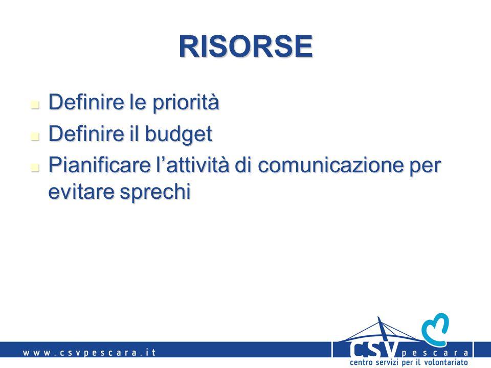RISORSE Definire le priorità Definire le priorità Definire il budget Definire il budget Pianificare lattività di comunicazione per evitare sprechi Pianificare lattività di comunicazione per evitare sprechi