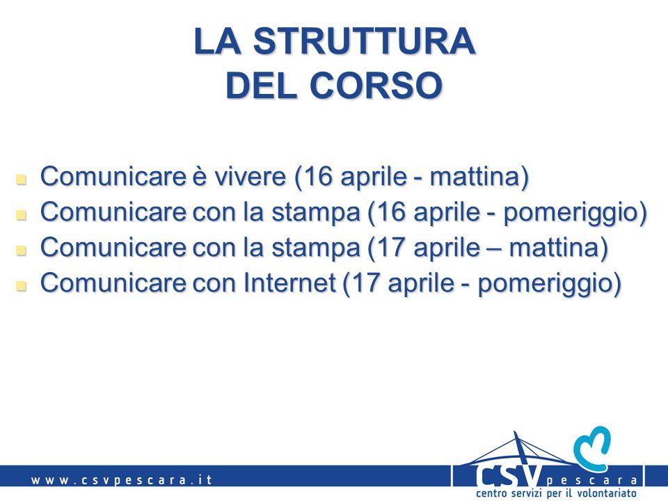 LA STRUTTURA DEL CORSO Comunicare è vivere (16 aprile - mattina) Comunicare è vivere (16 aprile - mattina) Comunicare con la stampa (16 aprile - pomer
