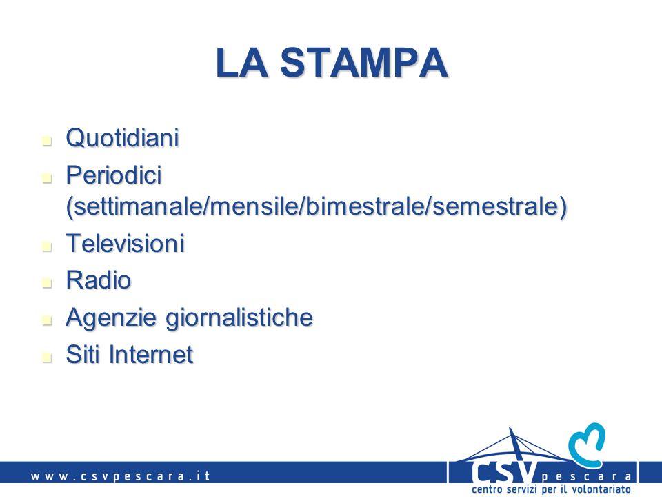 LA STAMPA Quotidiani Quotidiani Periodici (settimanale/mensile/bimestrale/semestrale) Periodici (settimanale/mensile/bimestrale/semestrale) Television