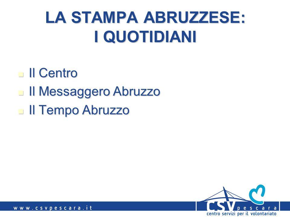 LA STAMPA ABRUZZESE: I QUOTIDIANI Il Centro Il Centro Il Messaggero Abruzzo Il Messaggero Abruzzo Il Tempo Abruzzo Il Tempo Abruzzo