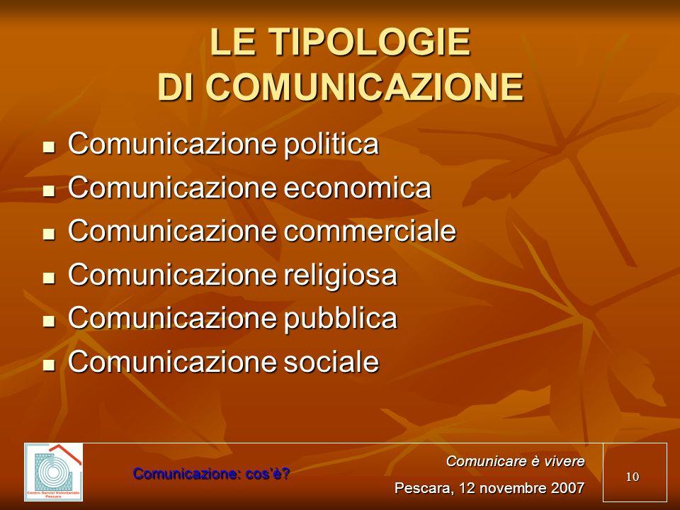 10 LE TIPOLOGIE DI COMUNICAZIONE Comunicazione politica Comunicazione politica Comunicazione economica Comunicazione economica Comunicazione commercia