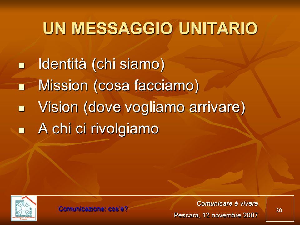 20 UN MESSAGGIO UNITARIO Identità (chi siamo) Identità (chi siamo) Mission (cosa facciamo) Mission (cosa facciamo) Vision (dove vogliamo arrivare) Vis
