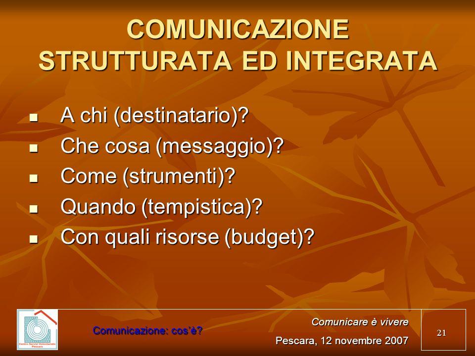 21 COMUNICAZIONE STRUTTURATA ED INTEGRATA A chi (destinatario)? A chi (destinatario)? Che cosa (messaggio)? Che cosa (messaggio)? Come (strumenti)? Co