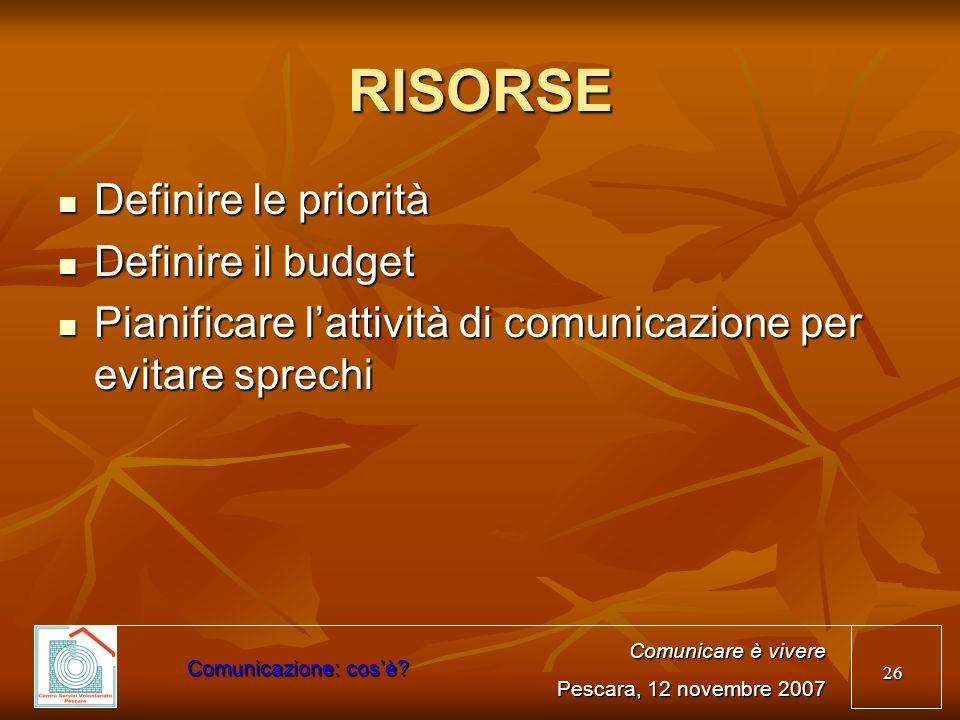 26 RISORSE Definire le priorità Definire le priorità Definire il budget Definire il budget Pianificare lattività di comunicazione per evitare sprechi