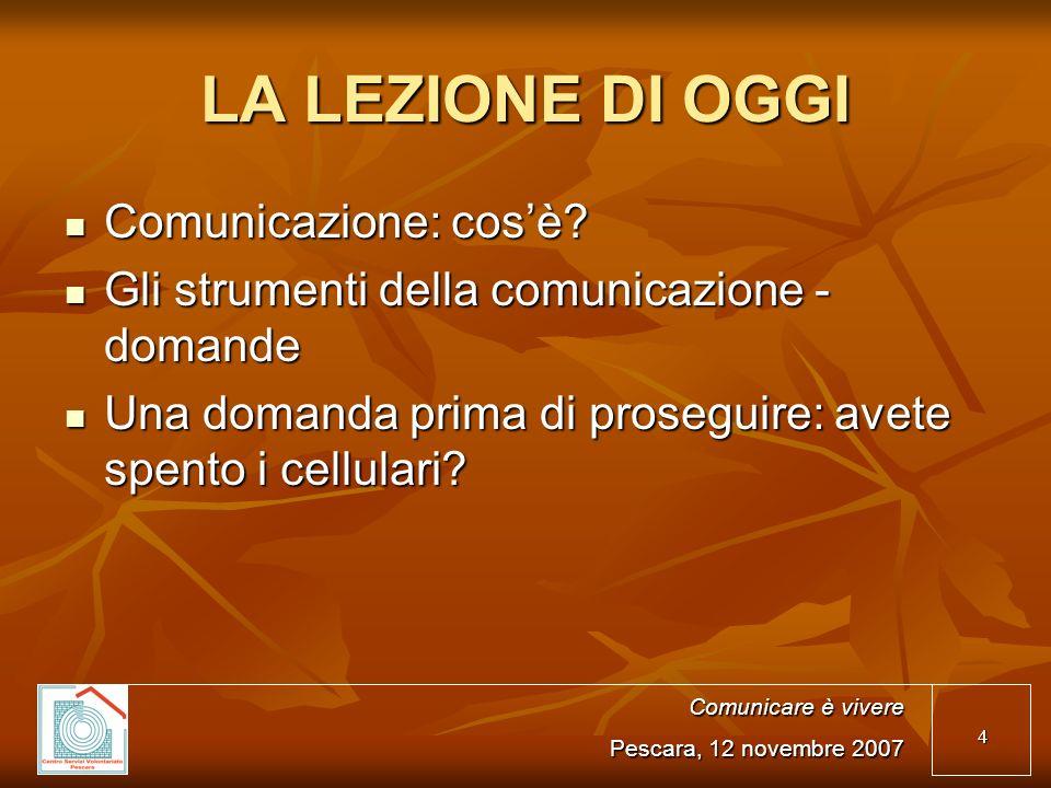 4 LA LEZIONE DI OGGI Comunicazione: cosè? Comunicazione: cosè? Gli strumenti della comunicazione - domande Gli strumenti della comunicazione - domande