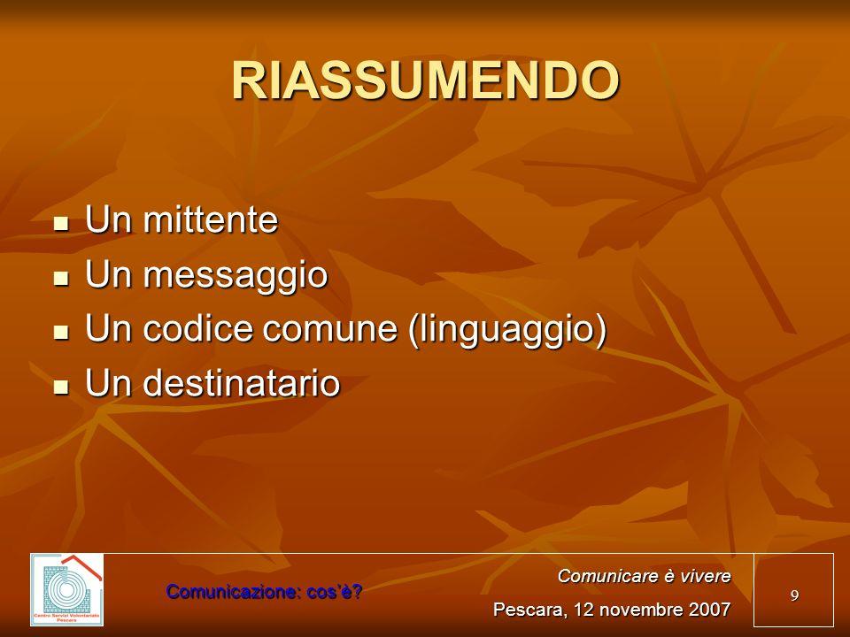 20 UN MESSAGGIO UNITARIO Identità (chi siamo) Identità (chi siamo) Mission (cosa facciamo) Mission (cosa facciamo) Vision (dove vogliamo arrivare) Vision (dove vogliamo arrivare) A chi ci rivolgiamo A chi ci rivolgiamo Comunicare è vivere Pescara, 12 novembre 2007 Comunicazione: cosè?