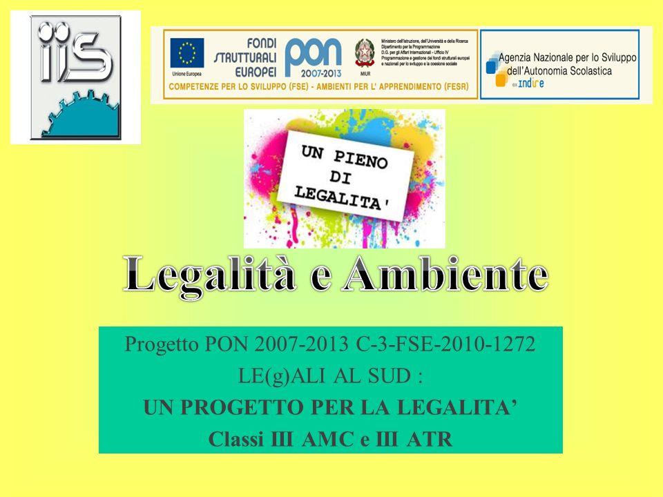 Progetto PON 2007-2013 C-3-FSE-2010-1272 LE(g)ALI AL SUD : UN PROGETTO PER LA LEGALITA Classi III AMC e III ATR