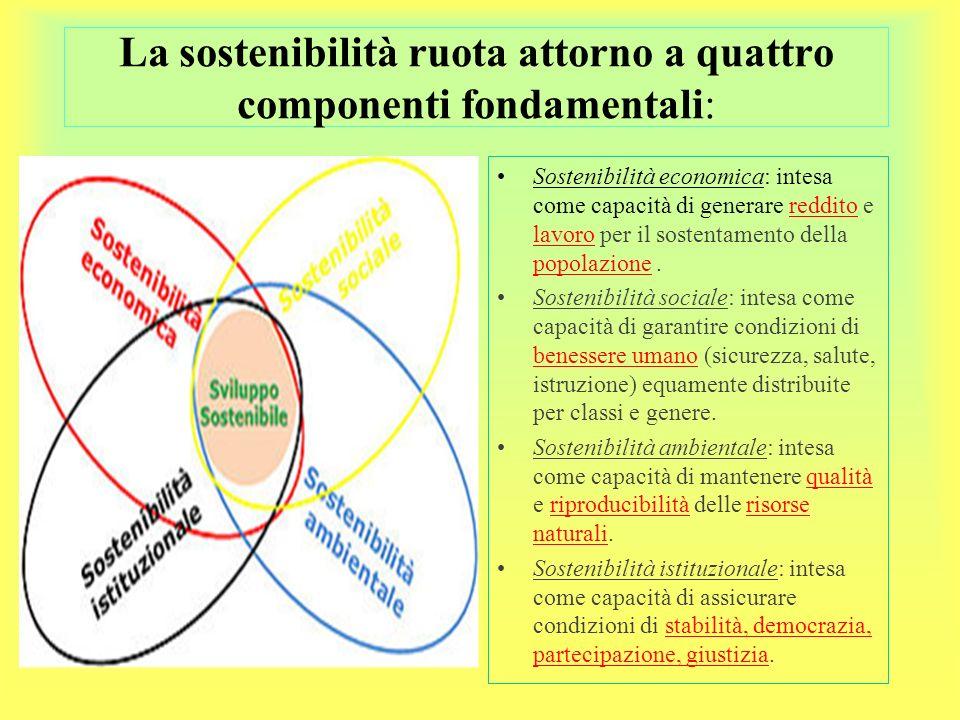 La sostenibilità ruota attorno a quattro componenti fondamentali: Sostenibilità economica: intesa come capacità di generare reddito e lavoro per il sostentamento della popolazione.