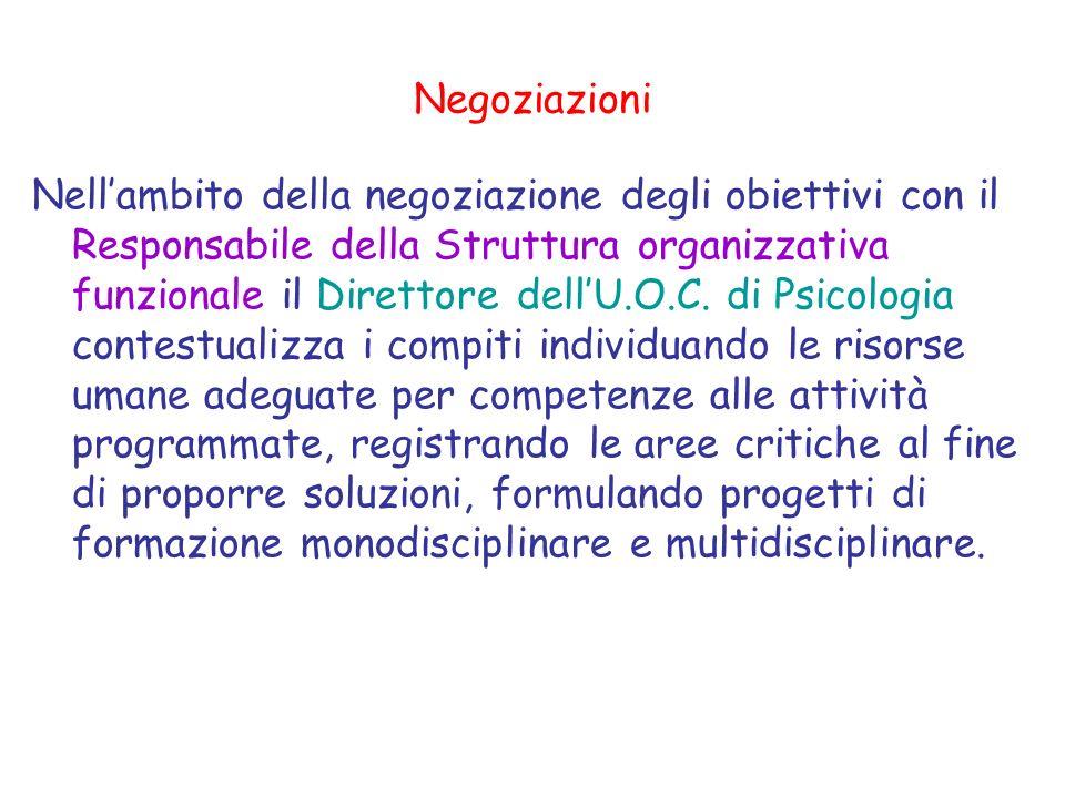 Programmazione budgettaria. Lattribuzione delle prestazioni dellU.O.C.