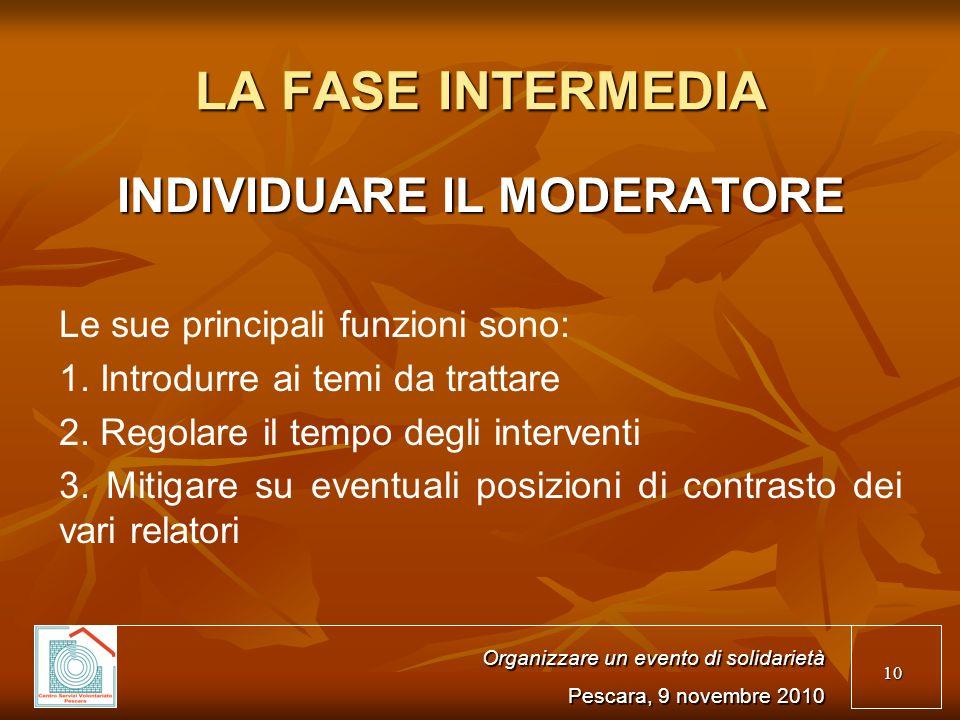 10 LA FASE INTERMEDIA INDIVIDUARE IL MODERATORE Le sue principali funzioni sono: 1.