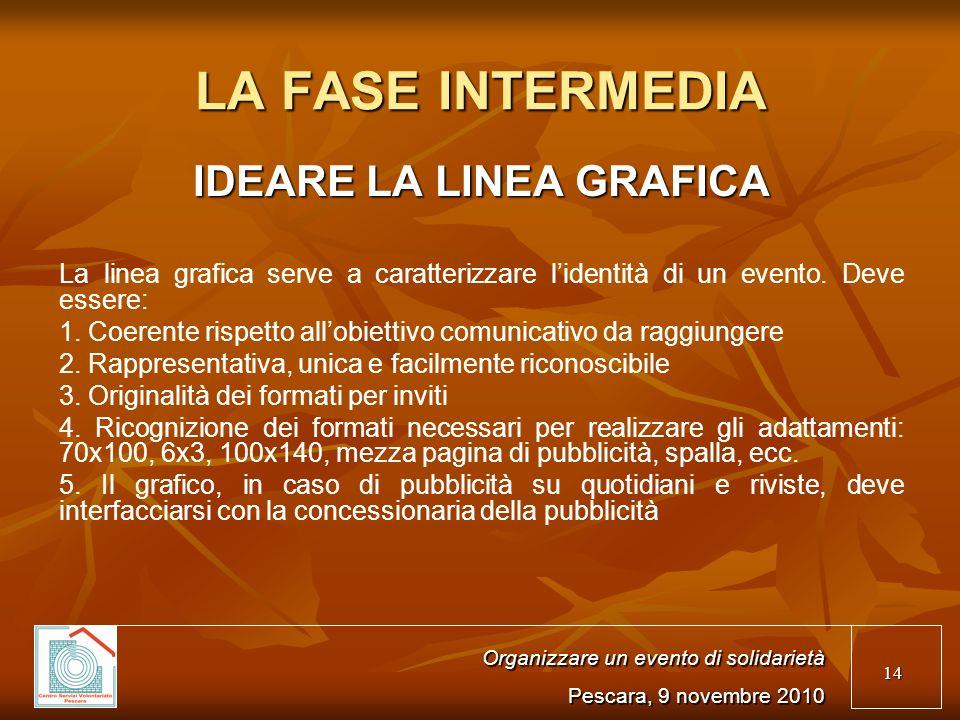 14 LA FASE INTERMEDIA IDEARE LA LINEA GRAFICA La linea grafica serve a caratterizzare lidentità di un evento.