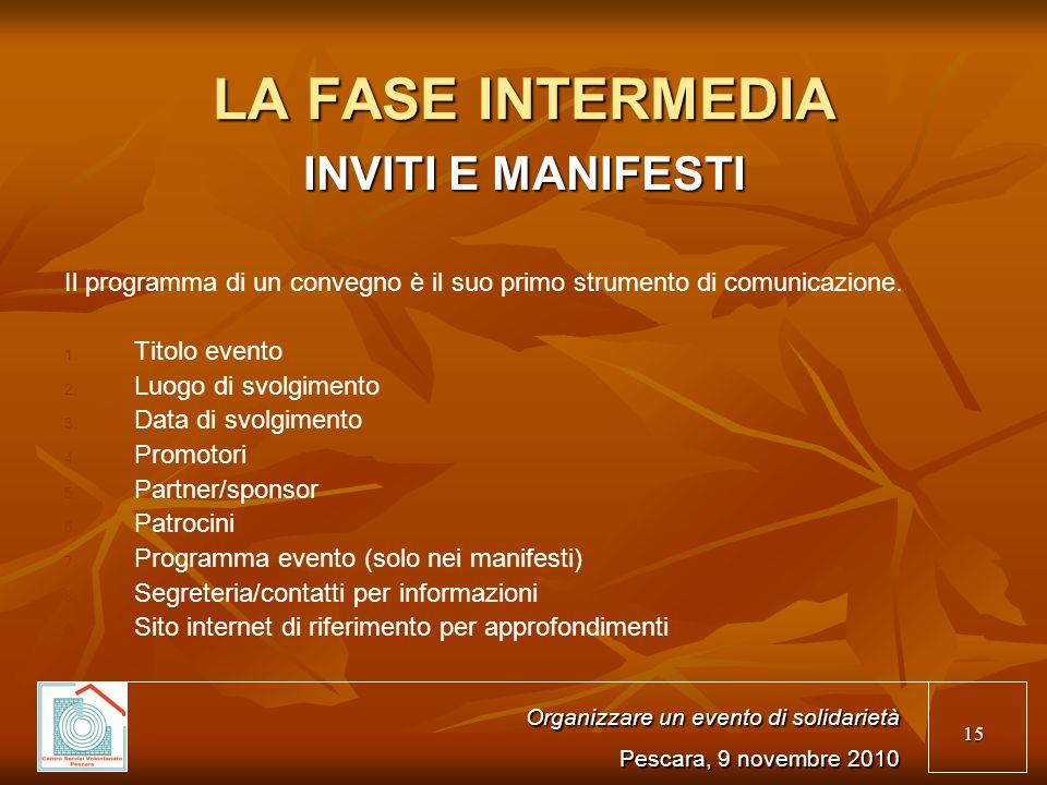 15 LA FASE INTERMEDIA INVITI E MANIFESTI Il programma di un convegno è il suo primo strumento di comunicazione.