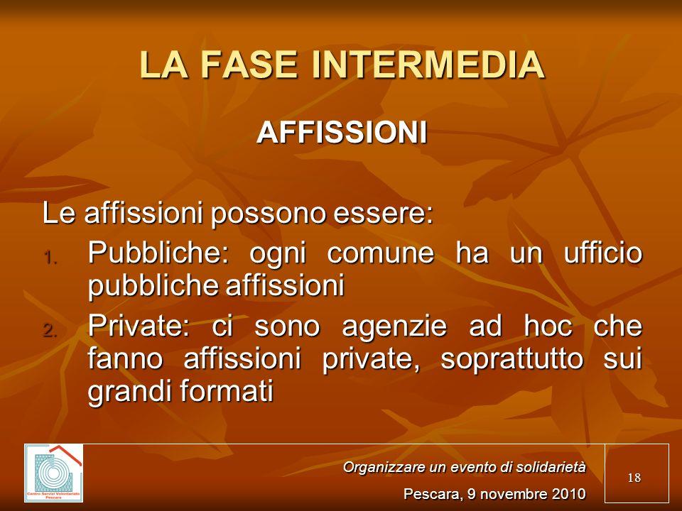 18 LA FASE INTERMEDIA AFFISSIONI Le affissioni possono essere: 1.