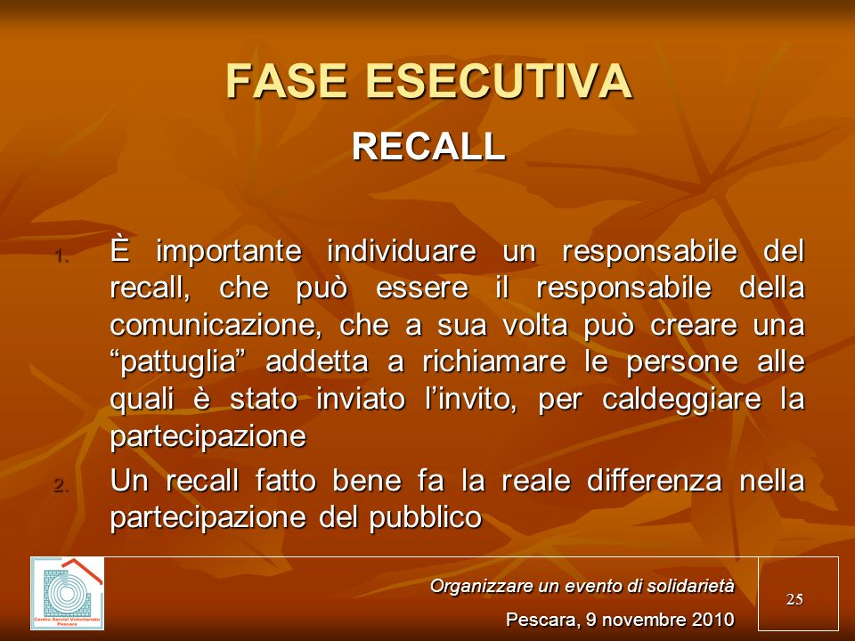 25 FASE ESECUTIVA RECALL 1.