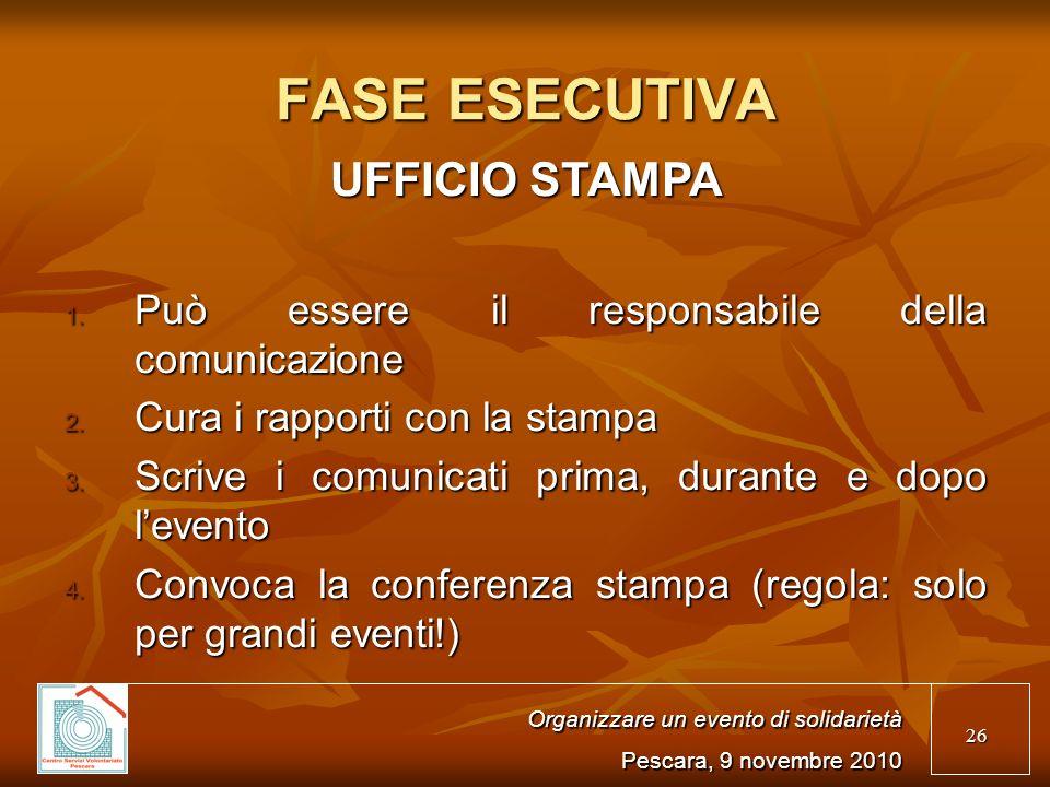 26 FASE ESECUTIVA UFFICIO STAMPA 1. Può essere il responsabile della comunicazione 2.