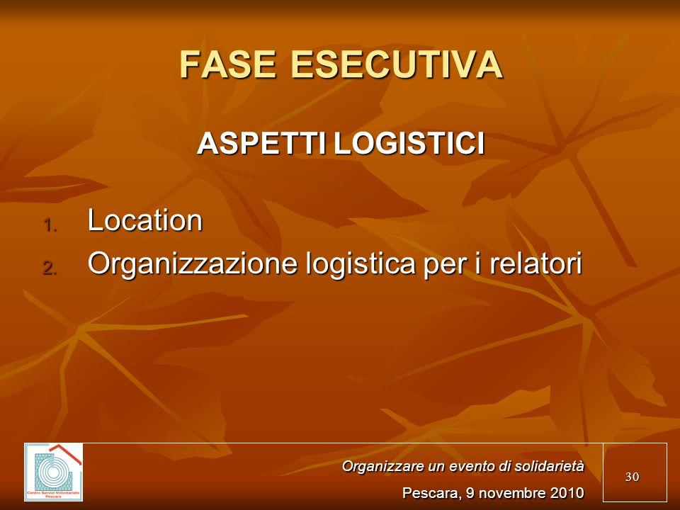 30 FASE ESECUTIVA ASPETTI LOGISTICI 1.Location 2.