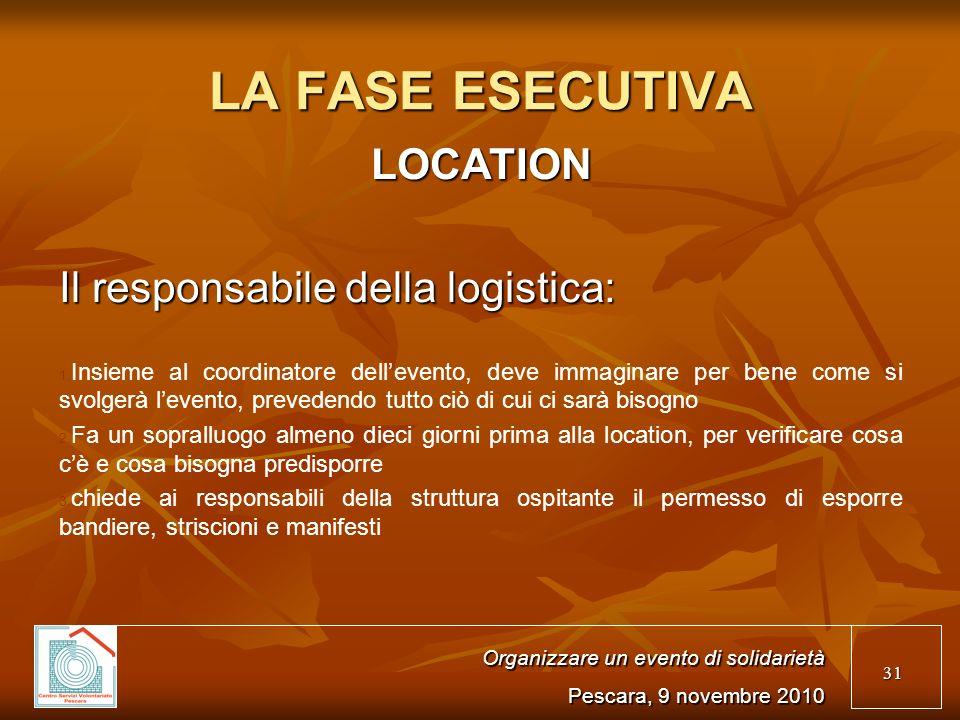 31 LA FASE ESECUTIVA LOCATION Il responsabile della logistica: 1.