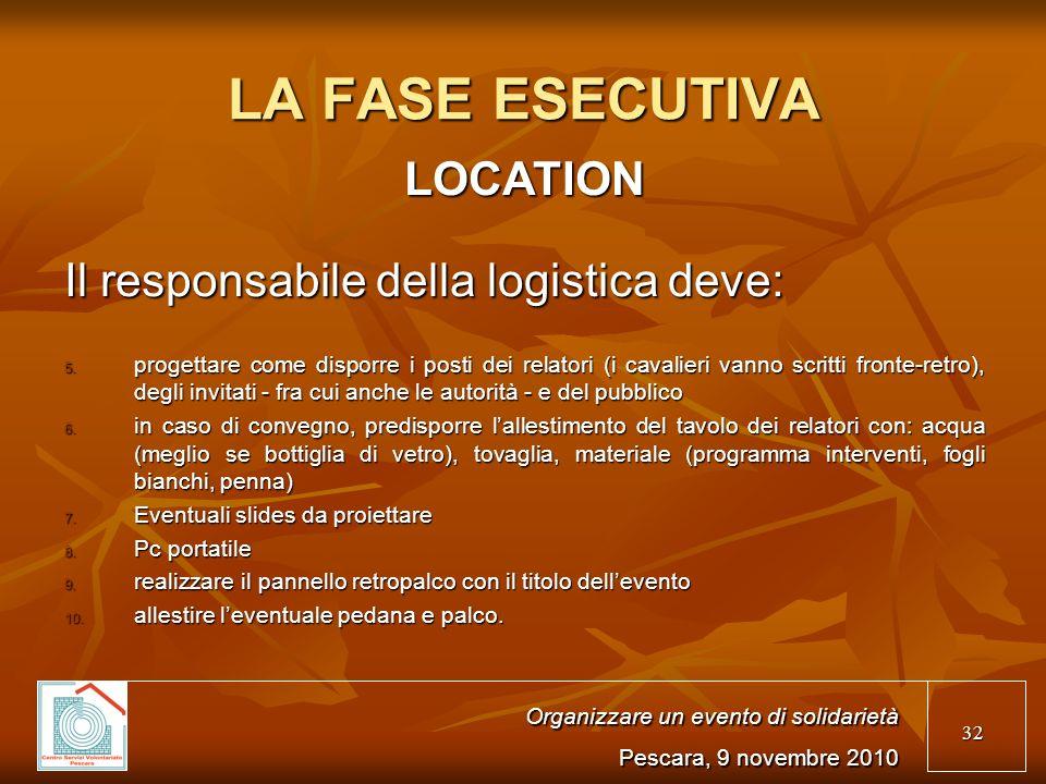 32 LA FASE ESECUTIVA LOCATION Il responsabile della logistica deve: 5.