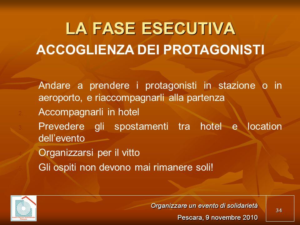 34 LA FASE ESECUTIVA ACCOGLIENZA DEI PROTAGONISTI 1.