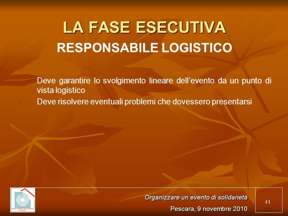 41 LA FASE ESECUTIVA RESPONSABILE LOGISTICO 1.1.