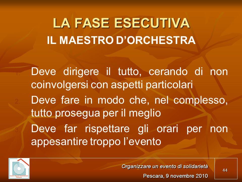 44 LA FASE ESECUTIVA IL MAESTRO DORCHESTRA 1. 1.