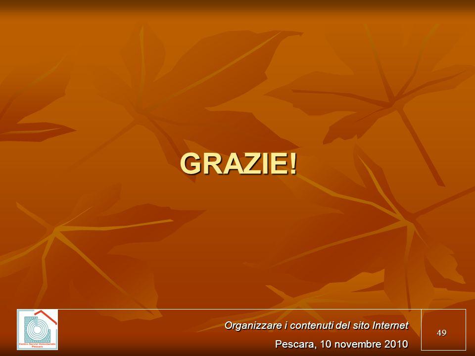 49 GRAZIE! Organizzare i contenuti del sito Internet Pescara, 10 novembre 2010