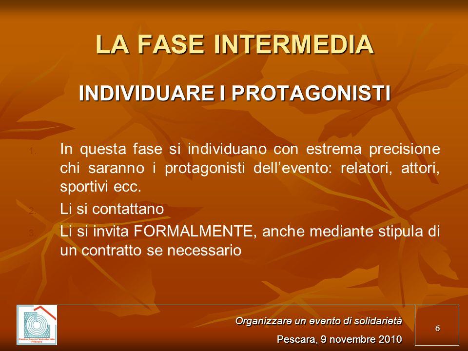 6 LA FASE INTERMEDIA INDIVIDUARE I PROTAGONISTI 1.
