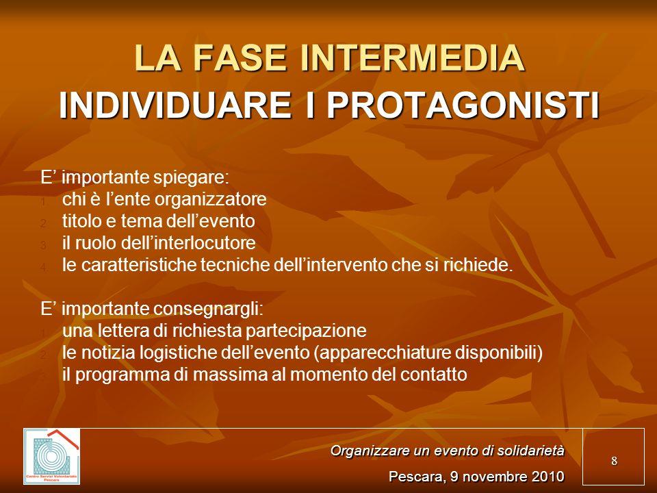 8 LA FASE INTERMEDIA INDIVIDUARE I PROTAGONISTI E importante spiegare: 1.