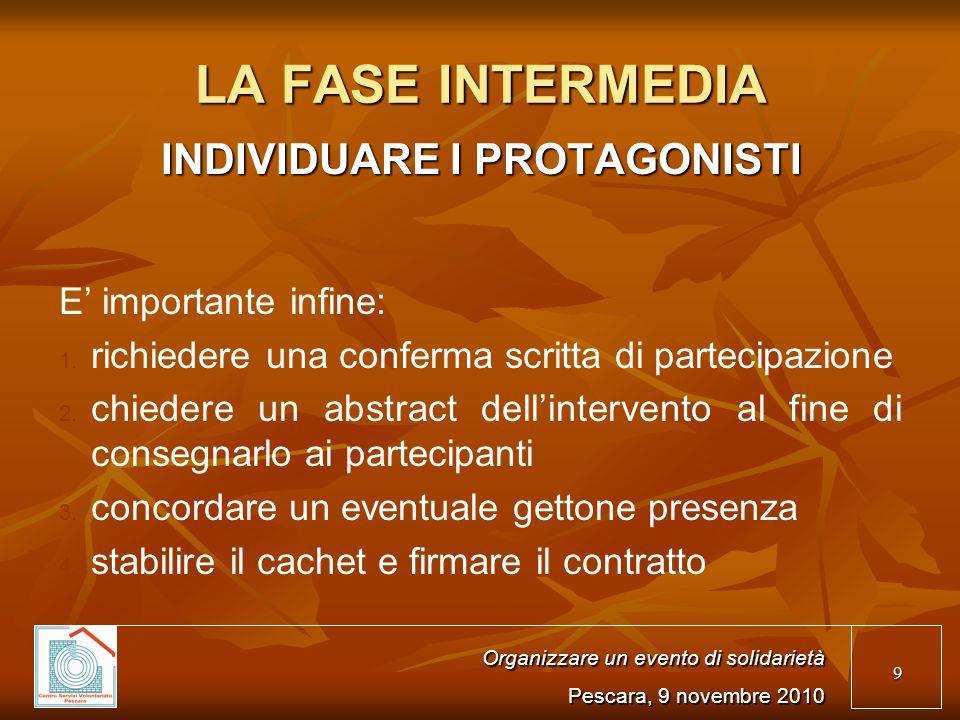 9 LA FASE INTERMEDIA INDIVIDUARE I PROTAGONISTI E importante infine: 1.
