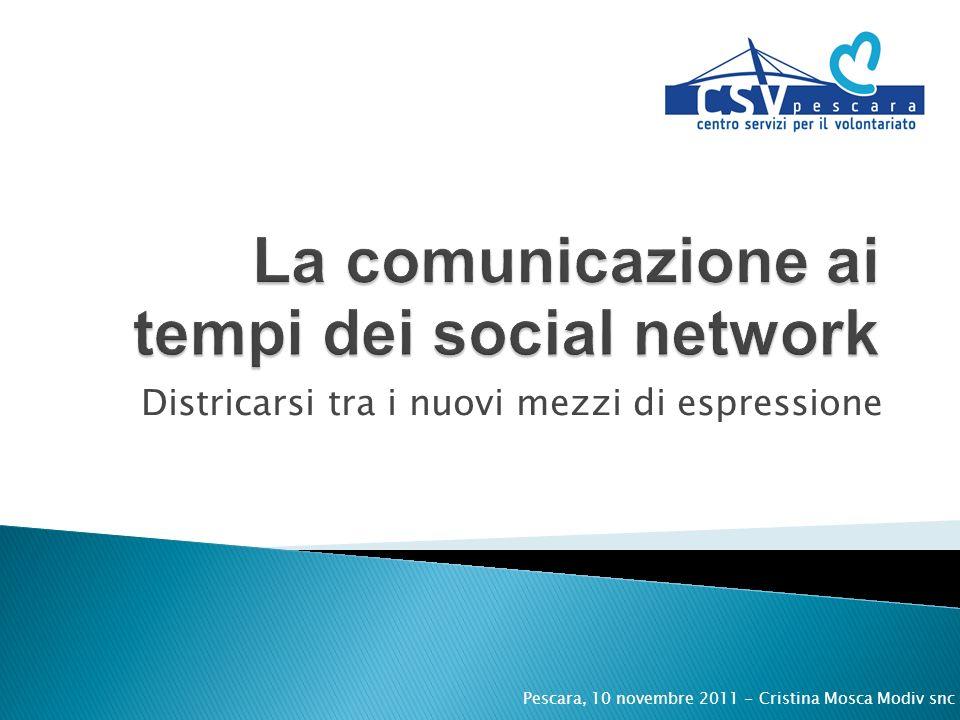 Districarsi tra i nuovi mezzi di espressione Pescara, 10 novembre 2011 - Cristina Mosca Modiv snc
