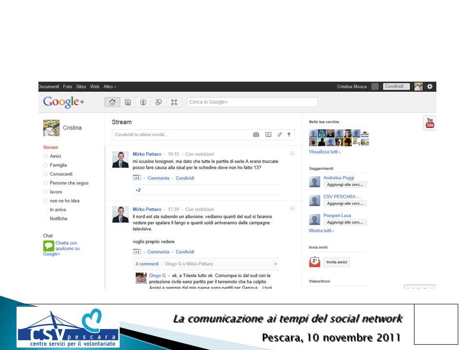 La comunicazione ai tempi del social network Pescara, 10 novembre 2011