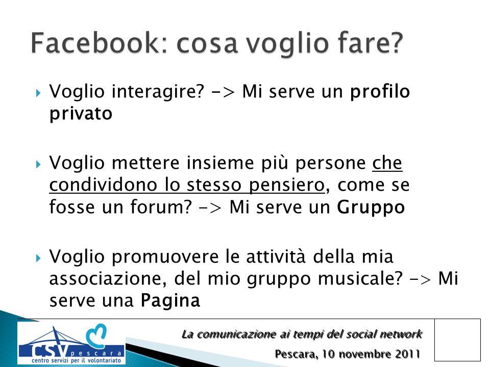 La comunicazione ai tempi del social network Pescara, 10 novembre 2011 Voglio interagire? -> Mi serve un profilo privato Voglio mettere insieme più pe