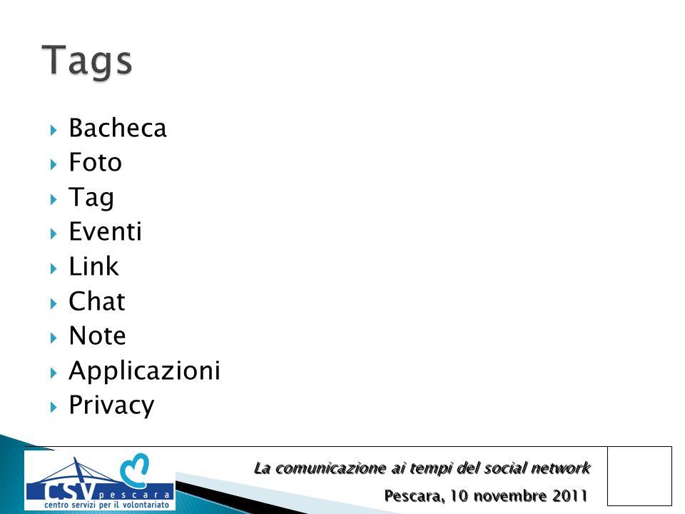 La comunicazione ai tempi del social network Pescara, 10 novembre 2011 Bacheca Foto Tag Eventi Link Chat Note Applicazioni Privacy