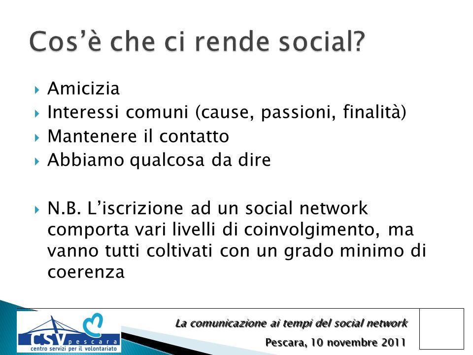 La comunicazione ai tempi del social network Pescara, 10 novembre 2011 Amicizia Interessi comuni (cause, passioni, finalità) Mantenere il contatto Abbiamo qualcosa da dire N.B.