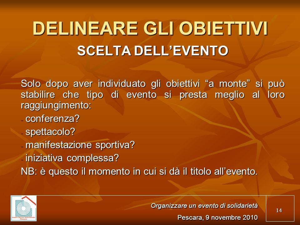 14 Organizzare un evento di solidarietà Pescara, 9 novembre 2010 SCELTA DELLEVENTO Solo dopo aver individuato gli obiettivi a monte si può stabilire che tipo di evento si presta meglio al loro raggiungimento: - conferenza.