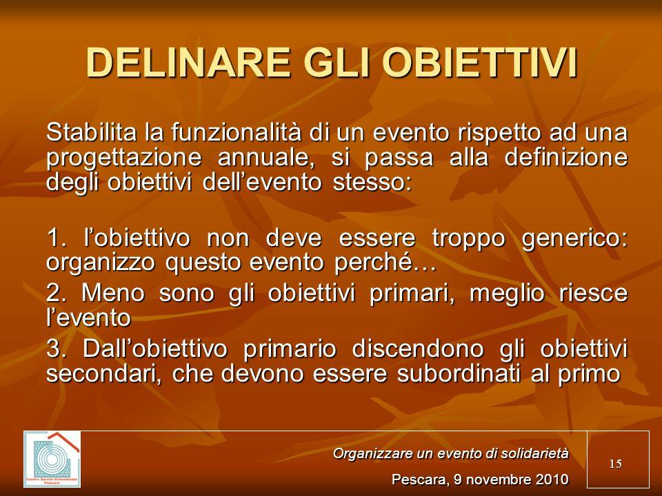 15 Organizzare un evento di solidarietà Pescara, 9 novembre 2010 Stabilita la funzionalità di un evento rispetto ad una progettazione annuale, si passa alla definizione degli obiettivi dellevento stesso: 1.