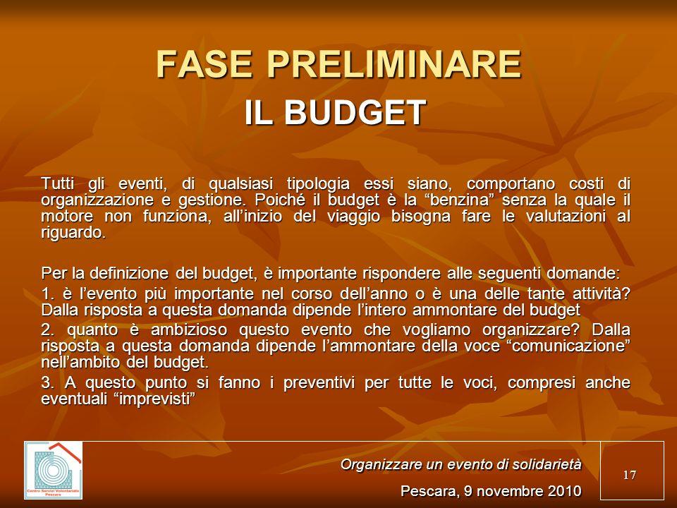 17 FASE PRELIMINARE IL BUDGET Tutti gli eventi, di qualsiasi tipologia essi siano, comportano costi di organizzazione e gestione.