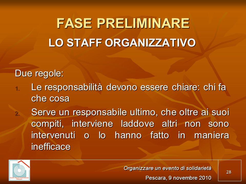 28 FASE PRELIMINARE LO STAFF ORGANIZZATIVO Due regole: 1.