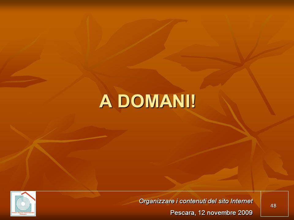 48 A DOMANI! Organizzare i contenuti del sito Internet Pescara, 12 novembre 2009