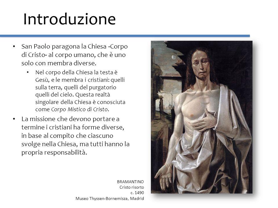 Introduzione San Paolo paragona la Chiesa -Corpo di Cristo- al corpo umano, che è uno solo con membra diverse. Nel corpo della Chiesa la testa è Gesù,