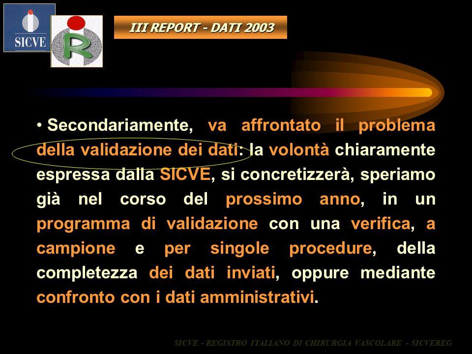 III REPORT - DATI 2003 Secondariamente, va affrontato il problema della validazione dei dati: la volontà chiaramente espressa dalla SICVE, si concreti