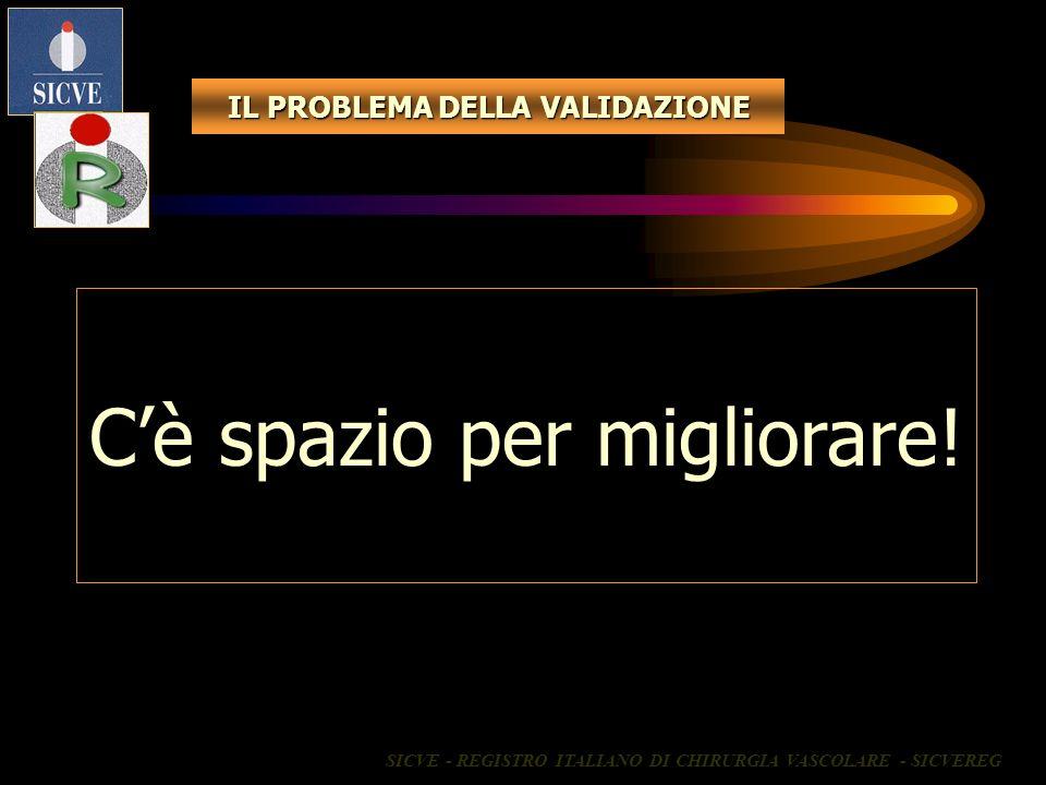 IL PROBLEMA DELLA VALIDAZIONE Cè spazio per migliorare! SICVE - REGISTRO ITALIANO DI CHIRURGIA VASCOLARE - SICVEREG