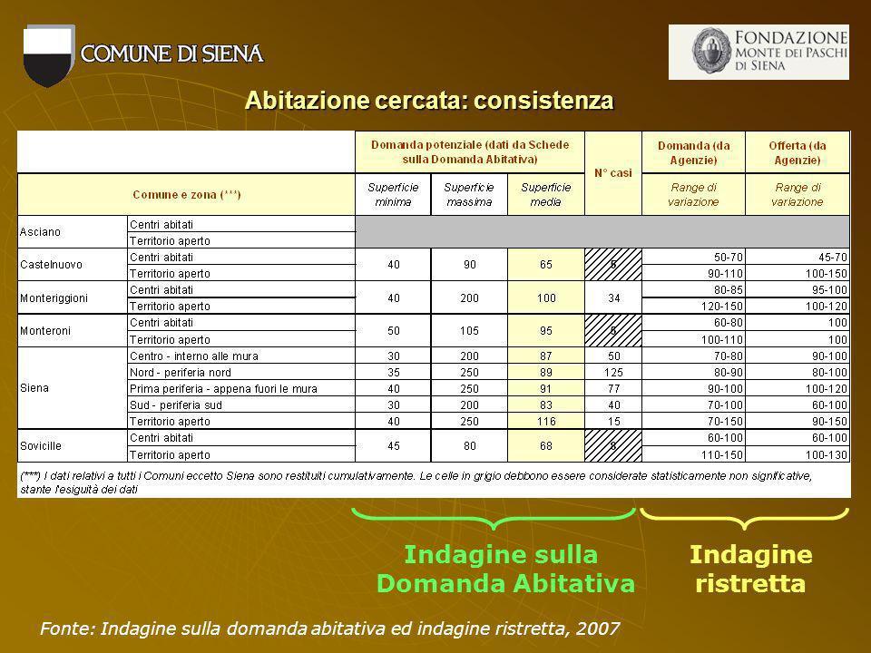 Abitazione cercata: consistenza Indagine sulla Domanda Abitativa Indagine ristretta Fonte: Indagine sulla domanda abitativa ed indagine ristretta, 2007