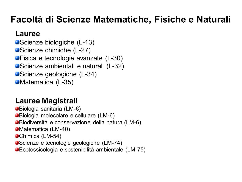 Facoltà di Scienze Matematiche, Fisiche e Naturali Lauree Scienze biologiche (L-13) Scienze chimiche (L-27) Fisica e tecnologie avanzate (L-30) Scienz