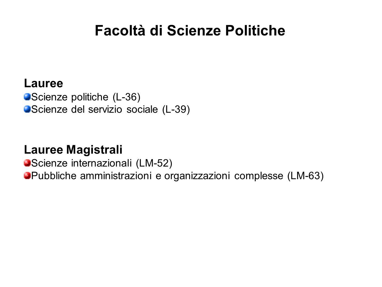 Facoltà di Scienze Politiche Lauree Scienze politiche (L-36) Scienze del servizio sociale (L-39) Lauree Magistrali Scienze internazionali (LM-52) Pubb