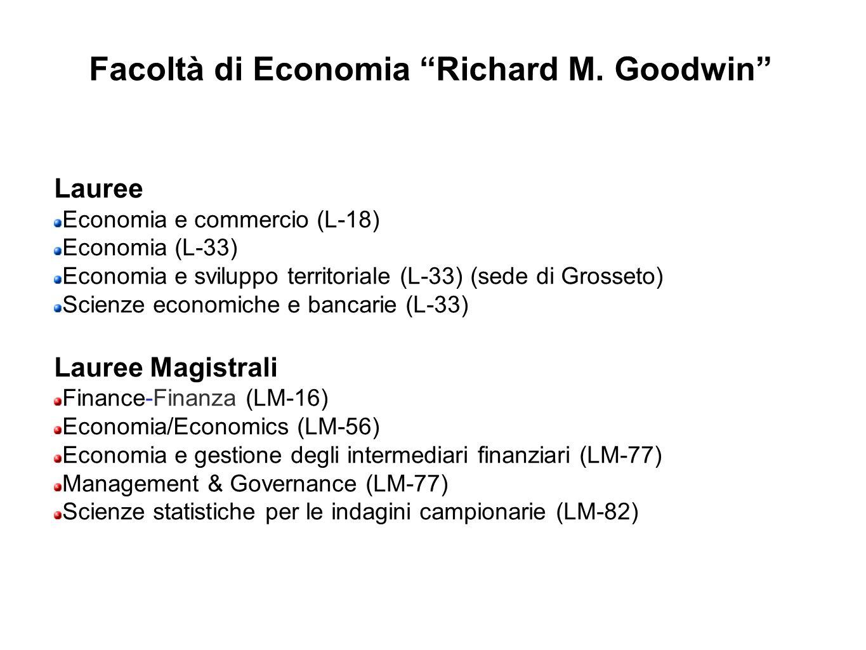 Facoltà di Economia Richard M. Goodwin Lauree Economia e commercio (L-18) Economia (L-33) Economia e sviluppo territoriale (L-33) (sede di Grosseto) S