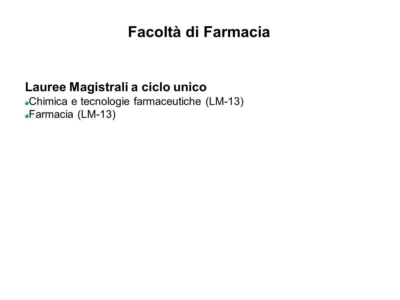 Facoltà di Farmacia Lauree Magistrali a ciclo unico Chimica e tecnologie farmaceutiche (LM-13) Farmacia (LM-13)