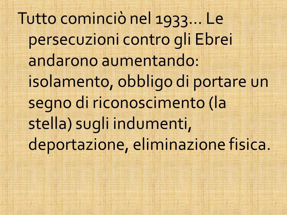 Tutto cominciò nel 1933… Le persecuzioni contro gli Ebrei andarono aumentando: isolamento, obbligo di portare un segno di riconoscimento (la stella) s
